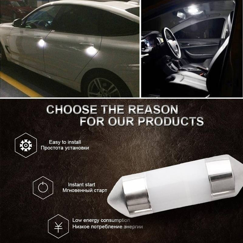 LED Automotive Interior Reading Light Double-pointed Ceramic Lamp Auto Products White License Plate Light Car Accessories