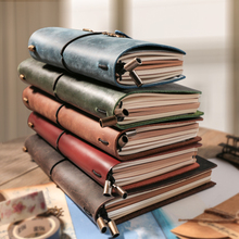 IPBEN Genuine Leather Notebook Lined Journal Sketchbook Personal Planner Paper School Supplies Passport Portable Christmas Gifts