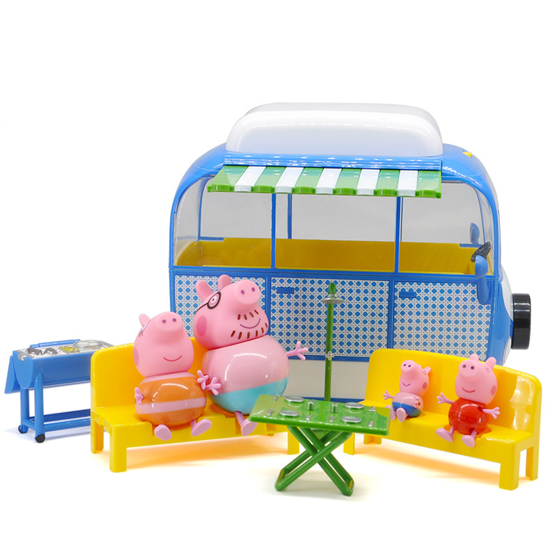 Peppa pig George Pink pig Family car Action Figures Pack Camping car suit Peppa Pig Figura Kids Birthday Gift Toy peppa s car ride