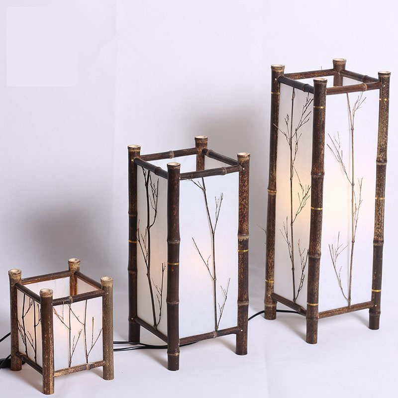 Bamboo Lamp Retro Table Lamps Dining Room Desk Light