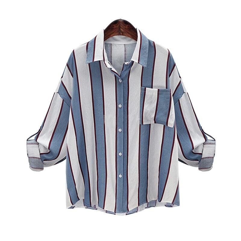Otoño Camisa de Manga Larga A Rayas Blusa Mujeres de Gran Tamaño Ocasionales Fl