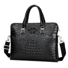 Mens Leather Briefcase Crocodile Pattern Handbag Alligator Embossed Organizer Briefcase for Men Double zipper Man Laptop Bag