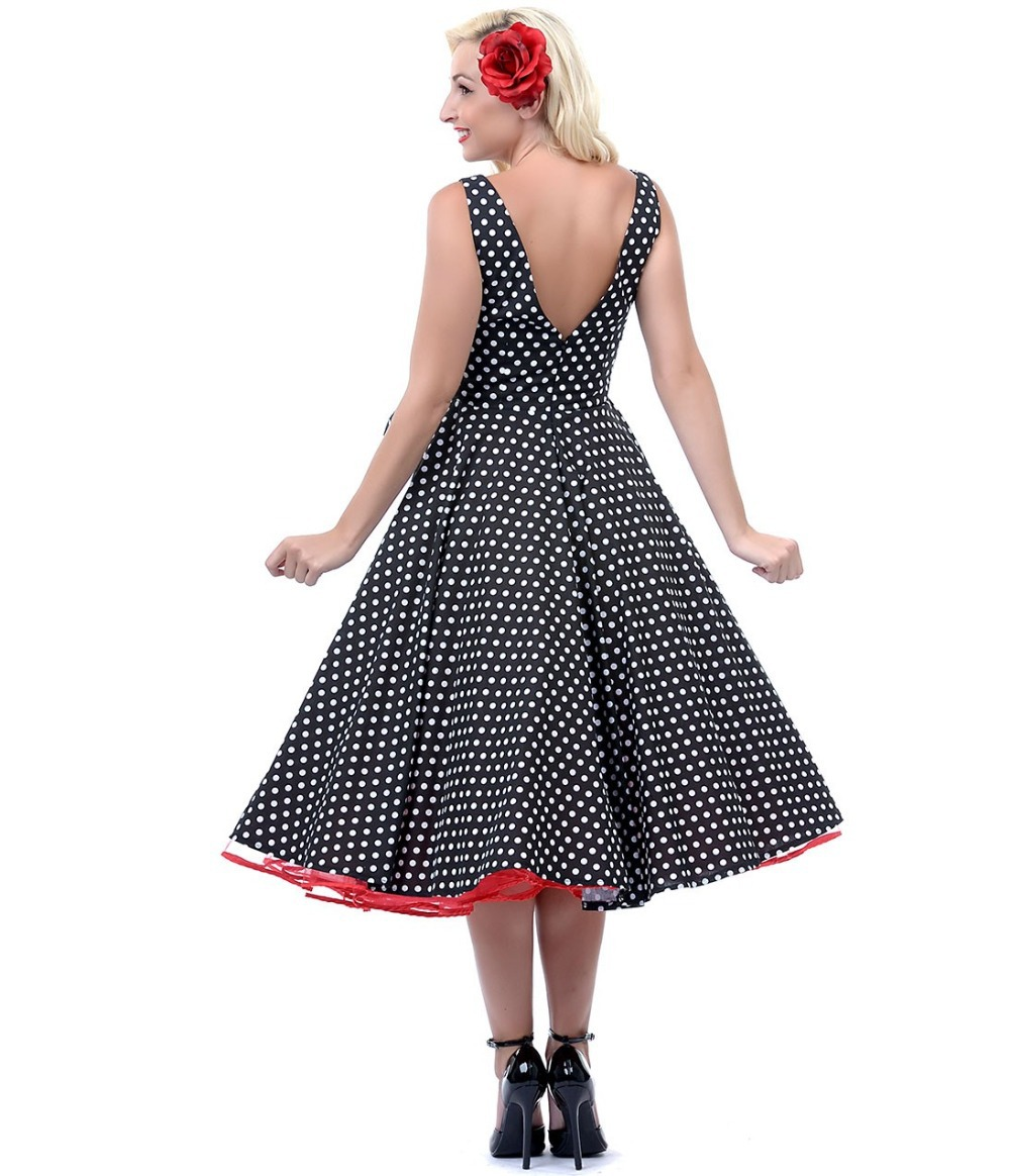 a758acbc220 1950s Style Clothing Unique Vintage Polka Dots Black   White Dottie Swing  Dress Rockabilly Fashion Outfits-in Dresses from Women s Clothing on ...