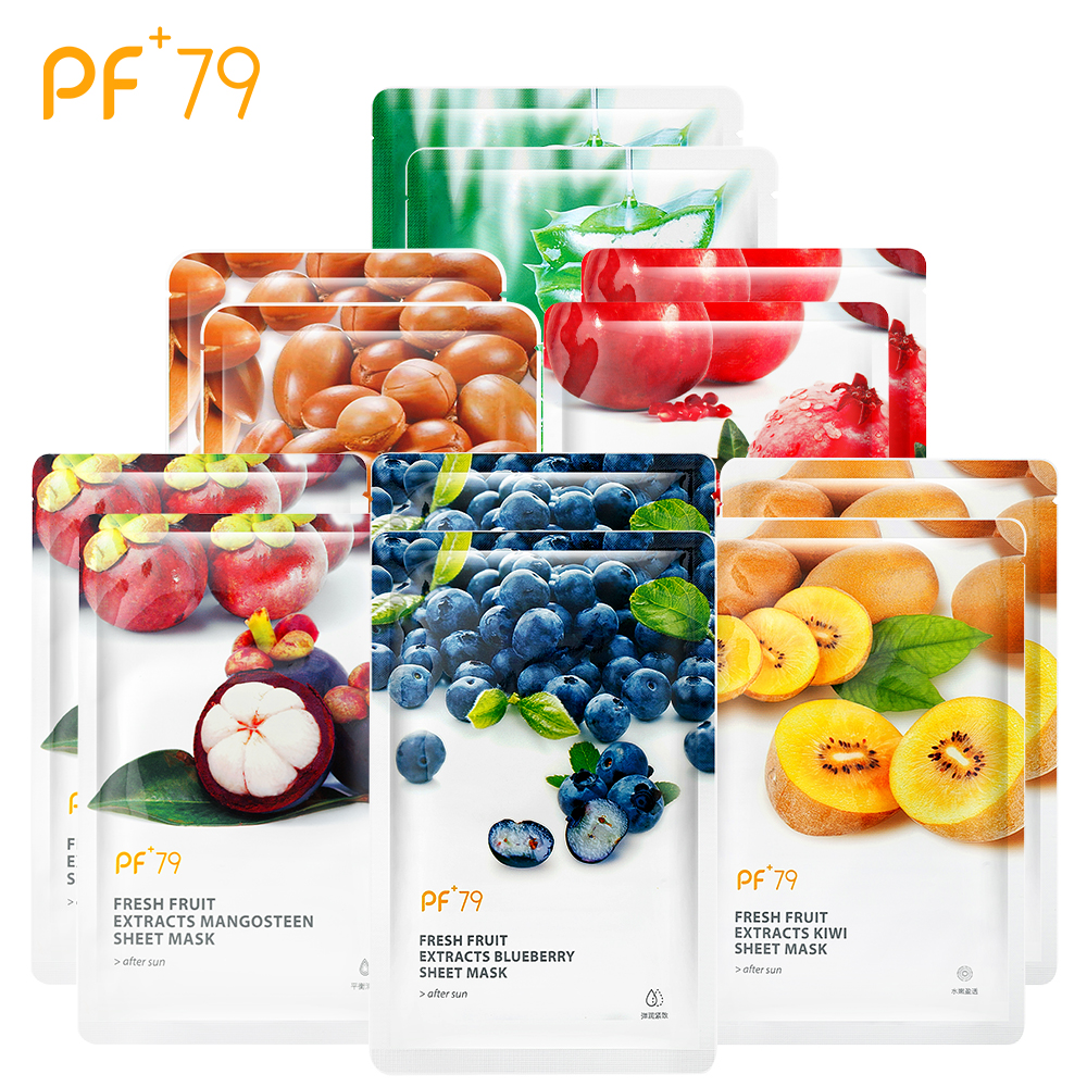 PF79 Skin Care Mask For The Face Fruit Mask Moisturizing Oil Control Blackhead Remover Sheet Face Mask 60pcs/Lot Wholesale
