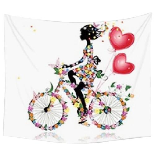 130x150 Cm Tapijt Home Decoratieve Polyester Strand Handdoek Mode Sofa Muur Decor (fiets Meisje) Het Speeksel Verversen En Verrijken