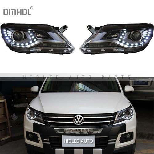 Free Shipping 1 Set HID Bixenon Hi/Lo Beams Headlight Assembly With LED DRLs For VW Volkswagen Tiguan 2009 2013, Plug & Play