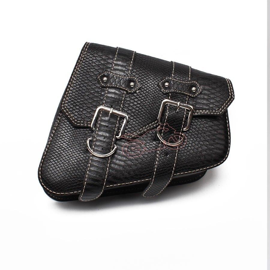 1Pcs Black Crocodile PU Leather Style Motorcycle Saddle Bag Luggage Right Side Saddle Bag For Honda Harley Sportster XL 883