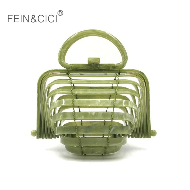 Acrylique plage totes sac bambou rotin sacs femmes d'été mode 2018 retour vert