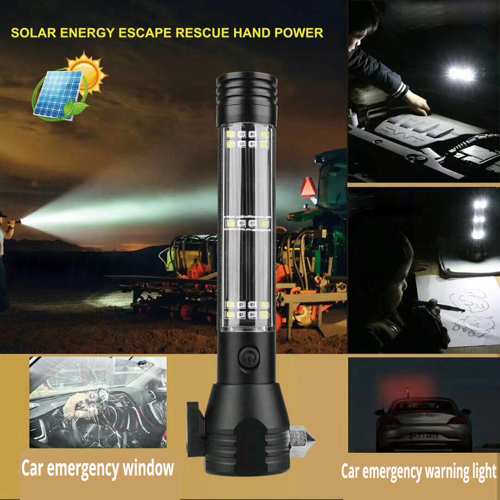 Sports & Entertainment Solar/usb Powered Flashlight Rechargeable Solar Flashlights 18650 Torch For Outdoor Camping Mobile Power Bank Built-in Battery Wide Selection;