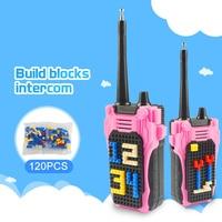 מכשיר הקשר לבנות בלוקי DIY בריק המותאם הקובייה 120pcs ילדים אינטרקום מכשיר הקשר עיצוב לילדים 100 מטר הרדיו נייד טווח Talking (1)