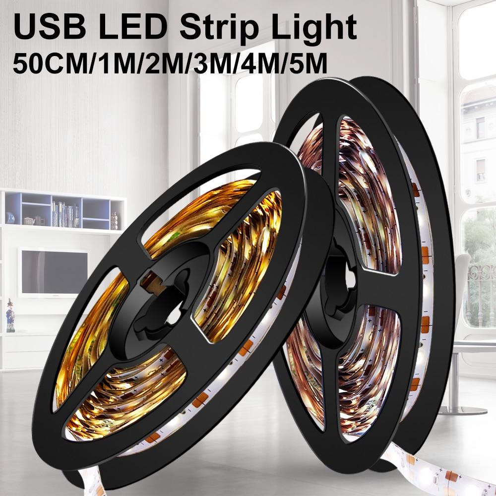 Led Light Strip USB 5V Neon Light Ribbon Fita Led Strip Light Tape Diode 2835 5M TV Background Lighting Decoration Living Room(China)
