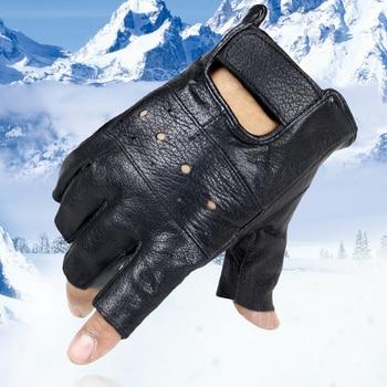 2020 marke LongKeeper Frühling frauen Leder Handschuhe Fahren Ungefüttert Ziegenleder Halb Finger Handschuhe Finger Gym Fitness Handschuhe