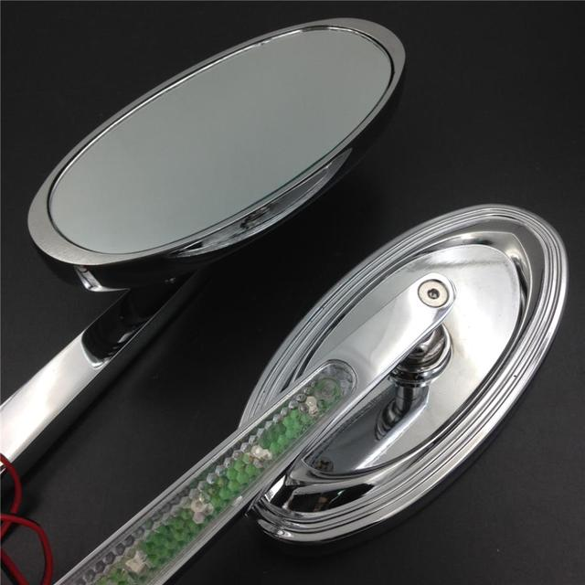 Motorcycle LED Turn signal Oval style Racing view mirrors For Harley Softail Fat Boy Road King Dyna Wide Glide Sportster XL