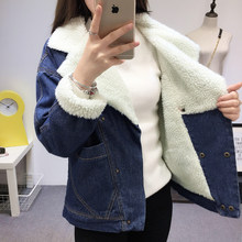 New 2019 Winter Fur Denim Jacket for Women Bomber Jacket Washed Blue Jeans Coat Female with Warm Lining Big Pockets Short Jacket(China)