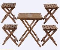 Шт. 5 шт. открытый деревянный патио мебель ДЕРЕВЕНСКИЙ ОТДЕЛКА складной обеденный набор стол и стул ужин для двора и сада декор