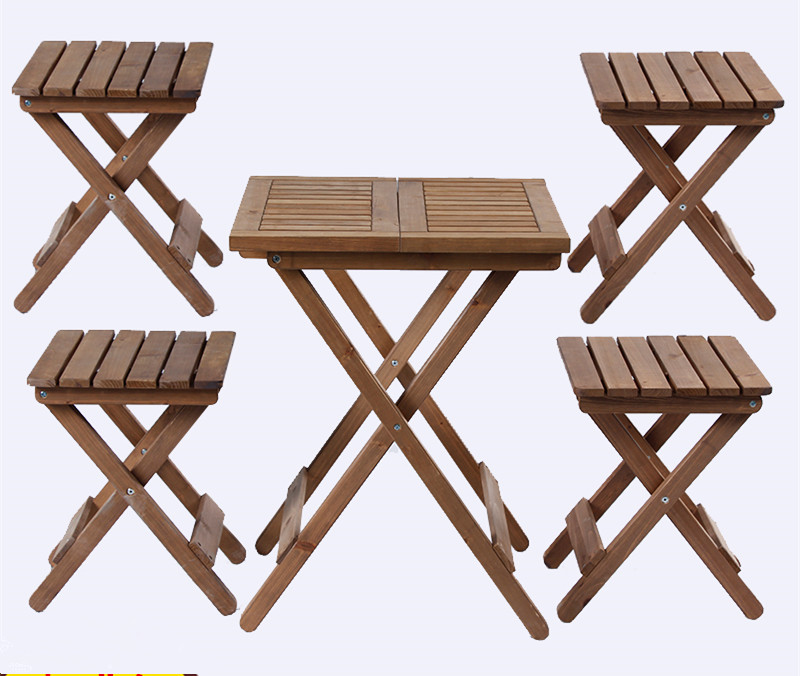 5 pieces Outdoor Wood Patio Furniture Rustic Finish 5 Piece Folding Dining Set Table And Chair Dinner For Yard & Garden decor все цены