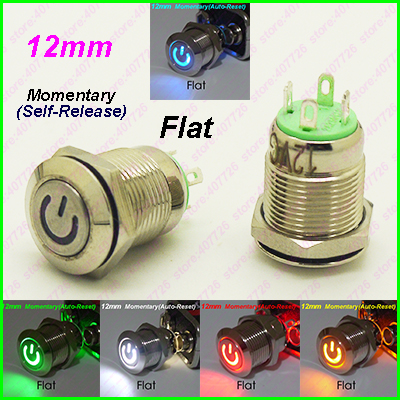 1PC 12MM Power Start Push Button With LED 12V/24V Momentary Auto Reset Metal Button Switch Indication illuminated Flat head metal push button switch with light 16mm flat head self reset momentary 5v 12v 24v 220v push button waterproof led metal switch