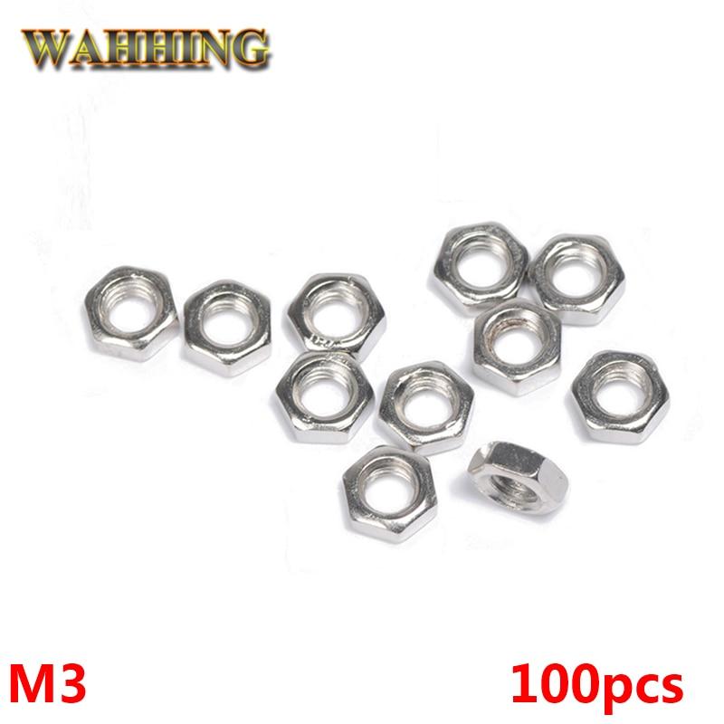 100pcs/lot New M3 Nut Hex Stainless Steel Screws Thread Nutsert Hexagon Nuts Metric Thread Screw HY398*100 1000pcs m4 metric thread insulation plastic nylon hex nut screw nut black hexagon nylon nuts