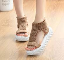 Comfortable Casual Wool Women's Summer gladiator Sandals 2019 New Knit Platform Shoes tong femme Candy Color Wedge Sandalias(China)
