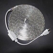 شريط إضاءة LED SMD 5050 AC 220V شريط إضاءة مرن 1 M/2 M/3 M/4 M/5 M/6 M/7 M/8 M/9 M/10 م/15 م/20 م + قابس طاقة ، 60 مصباح ليد/متر 230 فولت 240 فولت