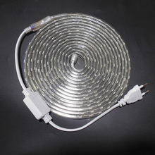 Tira de luz de led, smd 5050 ac 220v tira de luz flexível 1m/2m/3m/4m/5m/6m/7m/8m/9m/10 tomada de alimentação, m/15m/20m + 60leds/m 230v 240v
