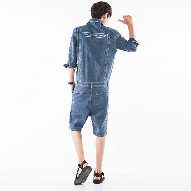 7e709c9ac45 Men Denim Harem Jumpsuit Street Fashion Casual A Piece Short Sleeve Short  Jeans Overalls Male Hip-Hop Trousers Jumpsuit