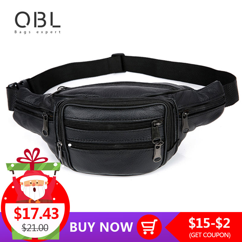 2add703b390f ... QiBoLu Cow Genuine Leather Waist Pack Fanny Pack Bum Belt Bag Men Pouch  Pochetes Bolso Cintura Marsupio Uomo Banane Sac MBA59
