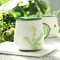 Creative Cactus mug with lid spoon simple and lovely porcelain 3D green plants breakfast milk coffee cup adult couple cup