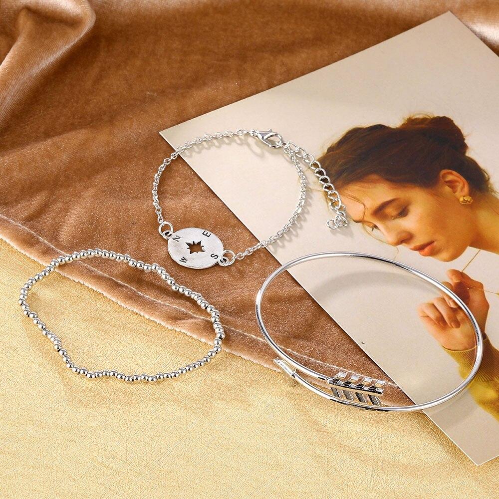 Femmes Bracelet Multi-couche Boussole Flèche Motif Chaîne Simple Pendentif Bijoux D