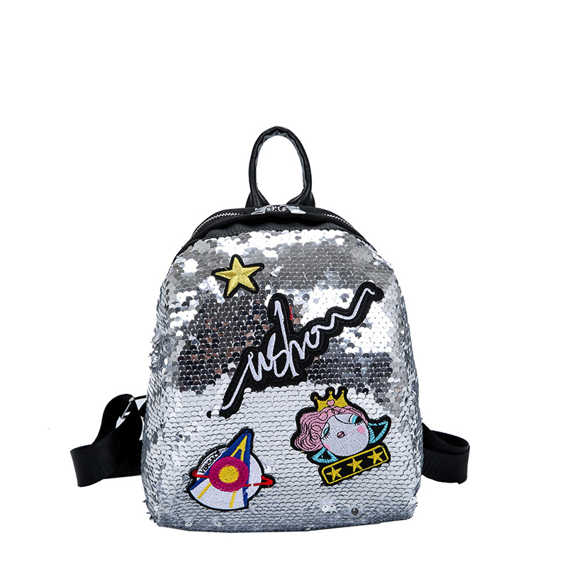 Meloke Mini Sequined Backpack With Cute Embroidery Backpacks For Women Girls Travelbag Bling Shiny Backpack School Backpack M163 #3