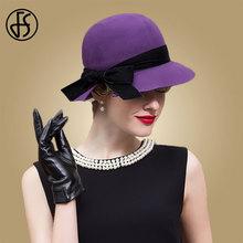 FS 2019 紫色の帽子女性 Fedora の冬ツバ広ウール Fedora の帽子クローシュ教会帽子 Feutre ファム