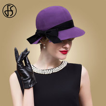 Fs 2019 chapéu roxo feminino fedora inverno aba larga lã feltro fedora chapéus moda vintage cloche igreja chapeau feutre femme
