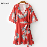 SheMujerSky Kadınlar Elbise Yaz 2017 Kırmızı Elbise Pamuk Tüy Baskı Lace Up vestido festa