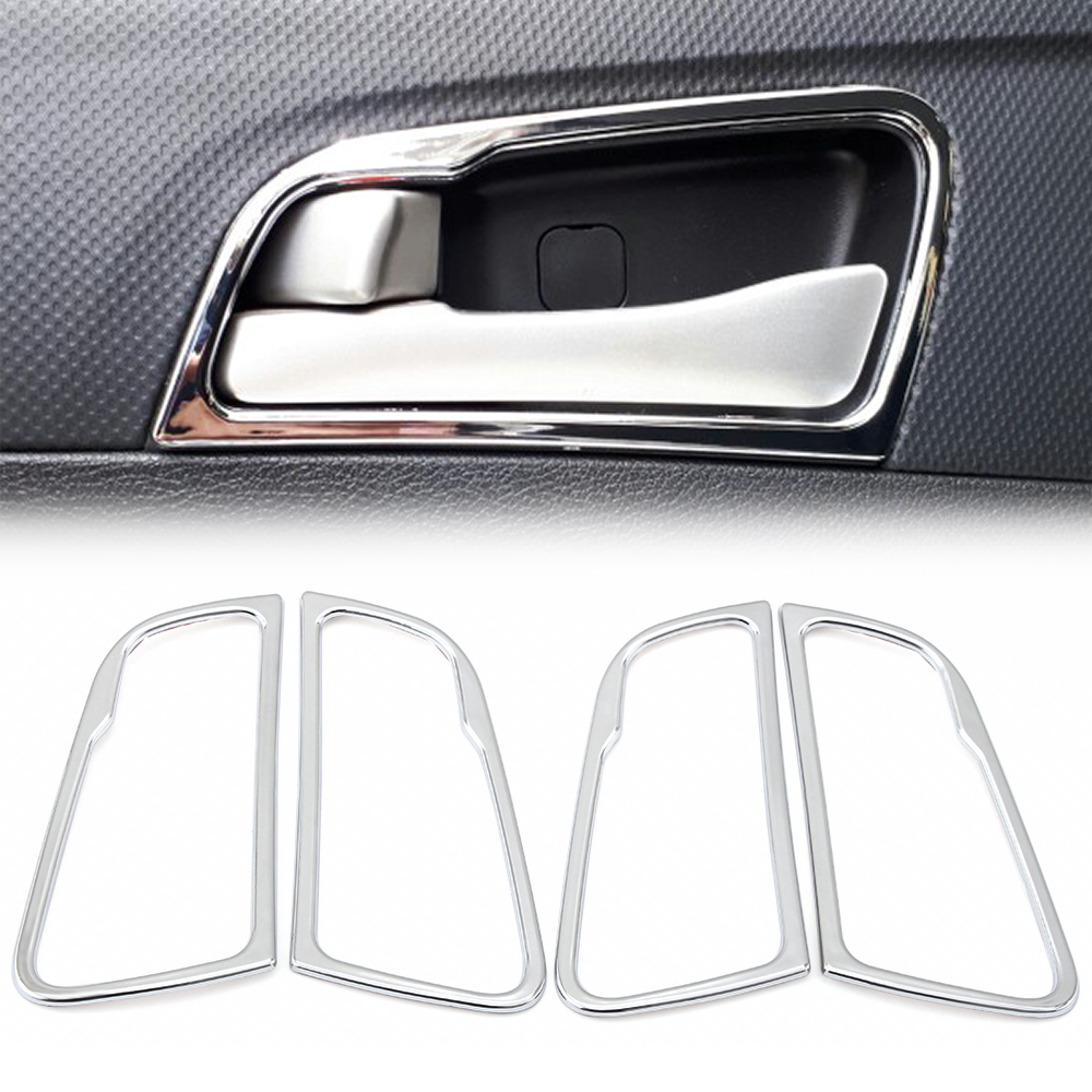 Car styling For Hyundai Solaris accent sedan hatchback 2011 2015 Chrome door handle cover interior decoration ring sticker-in Car Stickers from Automobiles & Motorcycles