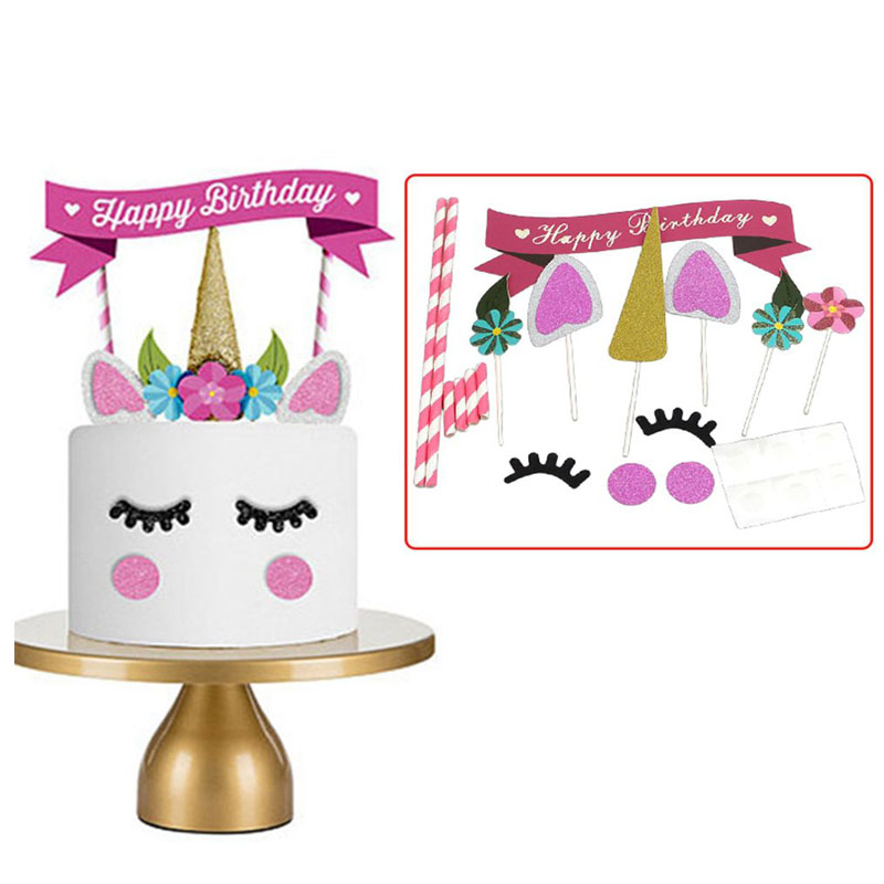1set Pink Unicorn Horn Ears Flowers Cake Topper Cupcake ...