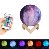 3D Print Star Moon Lamp Colorful 7 Color Change Remote Control Glow In The Dark Toys Luminous LED Light Galaxy Lamp Home Decor