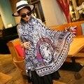 Marca española de moda tamaño grande mujeres bufanda musulmán indio retro jaguar rey sarga de algodón chales y Bufandas foulard poncho