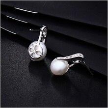 Hongye 925 Real Silver Earrings 100% Real Natural Freshwater Pearl Stud Earring