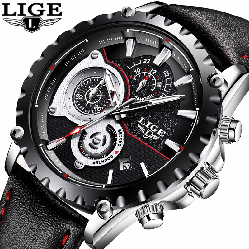 LIGE Watch Men Fashion Quartz Clock Mens Watches Top Brand Luxury Casual Leather Waterproof Sport Wrist Watch Relogio Masculino redear top brand wood watch men women wooden watches japan miyota fashion watch leather clock relogio feminino relogio masculino