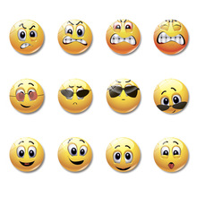 1pc Glass Dome Round Cute Smile Emoji Face Expressions Refrigerator Sticker Fridge Magnet For Kids Message Holder Home Decor 27 sheets 1300 style cut emoji sticker smile for notebook message high vinyl funny creative free shipping