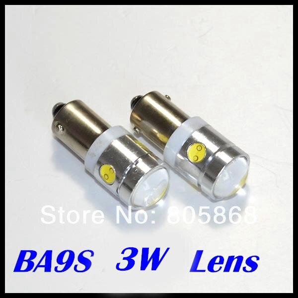 10 шт./лот автомобилей светодиодные внутренних дел Лампочки чтения BA9S LED T10 3 Вт объектив с высокой Мощность 4LED автомобиль свет источник света