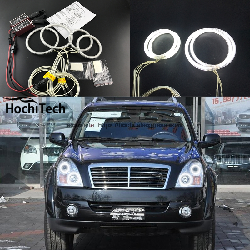 HochiTech ccfl angel eyes kit white 6000k ccfl halo rings headlight for Ssangyong Rexton 2006 2007 2008 2009 2010 2011 for uaz patriot ccfl angel eyes rings kit non projector halo rings car eyes free shipping