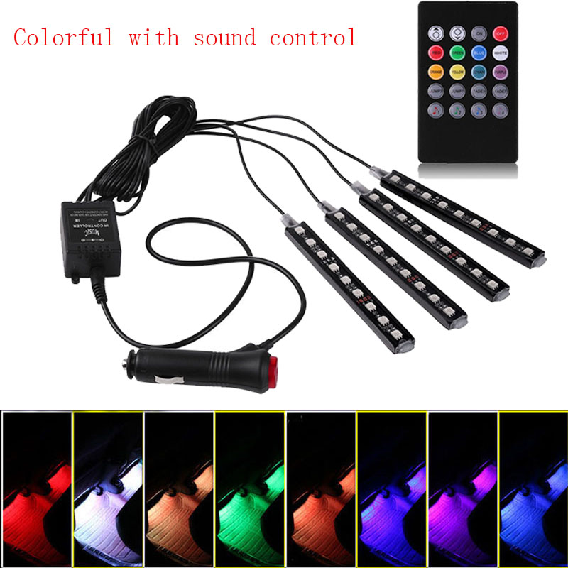 castaleca Wireless control Car Interior Atmosphere Neon Light Decorative LED Multi Color RGB Voice Sensor Sound Music Control цены онлайн
