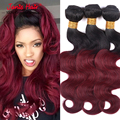 Two Tone Ombre Malaysian Virgin Hair T1B/ 99J Hair Body Wave Wavy Ombre Hair Extensions Red Wine 100% Human Hair Bundles
