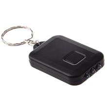 FSLH New Small Black Solar powered LED Flashlight w Keychain handy neat bright