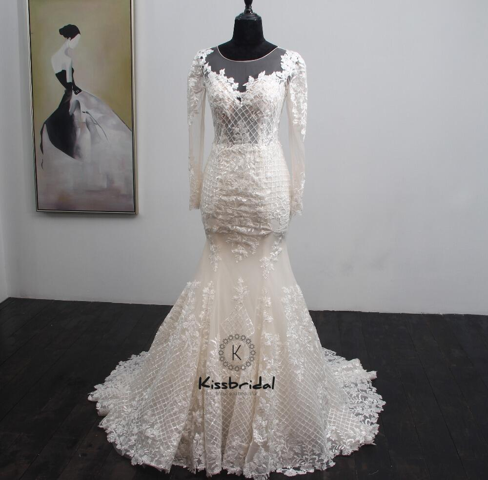 Vintage Lace Mermaid Wedding Dress 2018 Sweep Train Long Sleeve Wedding Bridal Gowns Button Back