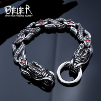 BEIER Double Dragon Head Charm Bracelet High Polished Animal Stainless Steel Wholesale Price Jewelry BC8 035
