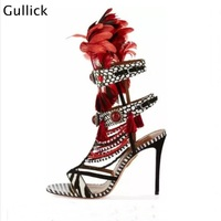 Hot Popular Mixed Colors Feather String Bead Women Sandals Open Toe High Heel Red Gems Decor Buckle Strap Women Party Shoes