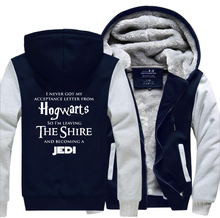Hogwarts & Star Wars Jedi Creative Funny Hoodies 2019 Winter Warm Fleece High Quality Thick Sweatshirt Men Novelty Mens Jacket