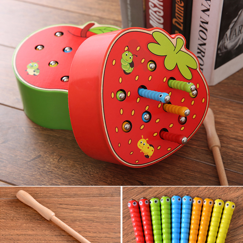 Baby Wooden Blocks Toys Early Childhood Education Funny Magnetic Stick Catch Worm Game Color Cognitive Magnetic Strawbery Toy 45